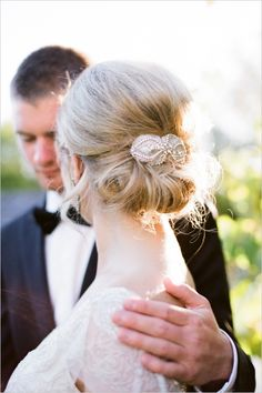 elegant wedding hair ideas #updo #weddingchicks http://www.weddingchicks.com/2013/12/20/red-and-navy-wedding-ideas/