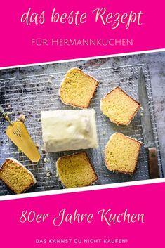 Kuchen Rezepte ausgefallen   wie dieses Rezept für Hermannkuchen aus den 80ern. Immer wieder lecker! Hier zeige ich Dir auch ganz genau wie Du Hermann behandeln musst.... Easy Peasy, Cornbread, Baked Goods, Good Food, Brunch, Food And Drink, Vegetarian, Favorite Recipes, Dinner