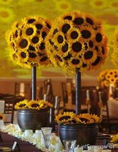 sunflower topiary trees - love this idea of topiary but with different flowers - purples etc.  Spring and Easter