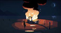 Burning car gif