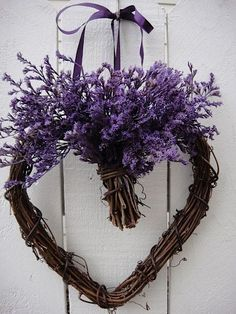 Purple Valentine heart wreath by HDSIM Lavender Crafts, Lavender Wreath, Purple Wreath, Valentines Day Weddings, Valentine Day Wreaths, Valentine Heart, Valentine Flowers, Valentine Ideas, Valentine Crafts