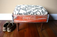 Vintage Coca Cola Crate Ottoman  Foot Stool  by SoftIndustry