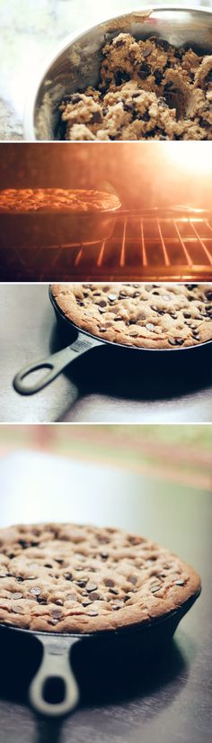 Cast Iron Skillet Cookie     3 cups / 13.5 oz / 380 g whole-wheat flour  1 1/2 teaspoon baking powder  1 teaspoon baking soda  1 1/4 teaspoon fine grain sea salt  8 ounces / 225 g (2 sticks) cold unsalted butter, cut into 1/2-inch pieces, plus more for buttering the pan  1 cup / 5 oz / 140 g dark brown sugar  1 cup / 7 oz / 200 g sugar  2 large eggs  2 teaspoons pure vanilla extract  8 ounces / 225 g bittersweet chocolate, roughly chopped into 1/4- and 1/2-inch pieces