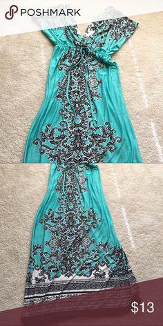 Maxi summer dress Short Sleeves, aquamarine Dresses Maxi