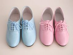 (In pink, lilac, or mint! Size 7.5 -ALB) Pony oxfords flats in pastel tones Handmade to by goldenponies, $42.00