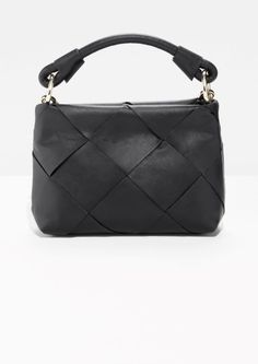 454c8d82c42243  amp  Other Stories image 1 of Woven Leather Crossbody in Black Leather  Crossbody