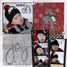 Red & Grey Christmas Joy Page.with reindeer. Christmas Scrapbook Layouts, Kids Scrapbook, Scrapbook Paper Crafts, Scrapbook Cards, Scrapbooking Ideas, Christmas Layout, Christmas Albums, Christmas Tea, Xmas