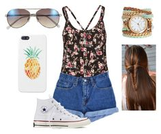 """xox / summertime fair"" by haileymadisonnn ❤ liked on Polyvore featuring Mimi Chica, Levi's, Sara Designs, Vince Camuto and Converse"