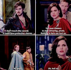 """Tell your timbers to stop shivering, pirate"" - Regina, Killian, David, Snow and Zelena #OnceUponATime"