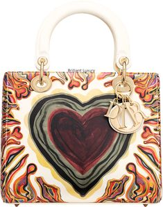 Brilliant Luxury│Lady Dior Art Bag in off-white calfskin, printed with a textured Dioramour heart and light gold-tone metal jewellery Lady Dior Mini, Metal Jewellery, Dior Handbags, Art Bag, Embroidered Bag, Gold Hands, Cover Pics, Printed Bags, Cotton Bag