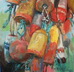 """Daily Paintworks - """"Boat Bouy Collection"""" by Mary Maxam"""