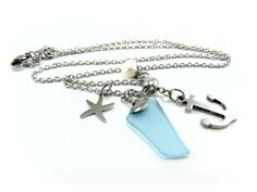 Ancre à bateau, verre de mer bleu, étoile de mer, bijoux faits à la main