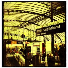 """Berlin Hauptbahnhof - Central Railway Station - formerly """"Lehrter Bahnhof"""" .... This absolutely beautiful station has vertical and underground aspect. The uniqueness of it and the hooting noise the trains make as they enter the station is very special to me."""
