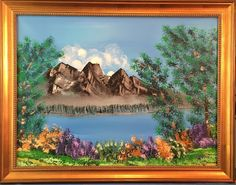 """Summer Day""; Oil on canvas; 18"" h x 24"" w x .75 d; Impressionism Landscape; Framed; Ready to hang. This is a striking landscape oil painting showcasing grand mountains, deep blue sky and lake, tall graceful trees and flowering bushes painted in a captivating impressionistic style. This painting arrives framed in a beautiful solid wood frame in classic gold leaf and 2"" width. My paintings are made using only the highest quality luxury paints and applied on the finest museum quality…"