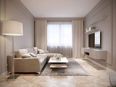 Modern Beige Gray Living Room Interior Design with Large Light Beige Sofa and Beige White Curtains. Beige And White Living Room, Beige Sofa Living Room, Glam Living Room, White Rooms, Living Room Modern, Living Room Decor, Home Room Design, Living Room Designs, Apartment Interior