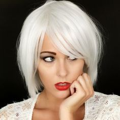 SHARE & Get it FREE | Nobby Straight Shaggy Short Silvery White Heat Resistant Synthetic Inclined Bang Capless Women's WigFor Fashion Lovers only:80,000+ Items • FREE SHIPPING Join Nastydress: Get YOUR $50 NOW!