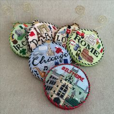 Needlepoint travel fun, so fun to finish ~ Canvases by Kirk&Bradley Needlepoint Stitches, Needlepoint Canvases, Needlework, Christmas Embroidery, Hand Embroidery, Embroidery Ideas, Ribbon Art, Xmas Ornaments, Christmas Cross