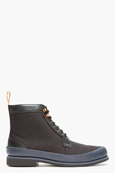 Swims Black & Navy Rubber-trimmed Harry Boots for men | SSENSE
