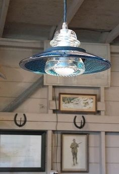 Creative Lighting Hardware & Home Decor - eclectic lighting made with railroad glass and traffic lens Electric Insulators, Insulator Lights, Glass Insulators, Quirky Home Decor, Eclectic Decor, Cheap Home Decor, Industrial Lighting, Home Lighting, Pendant Lighting