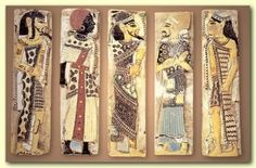 Foreign prisoners of Ramesses III - Libyan, Nubian, Syrian, Shasu Bedouin, and Hittite. Note the Libyan's tattoos.