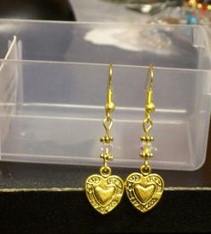 Heart Charm Gold Earrings with an AB crystal  very by marcenebt99, $7.00