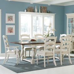 Hillsdale Furniture 5265DTBTCL7 Pine Island 7 PC Trestle Dining Set with Ladder Back Chairs