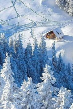 Photo: Cabin in the snow I Love Snow, I Love Winter, Winter Schnee, Winter Magic, Photos Voyages, Snowy Day, Snow Scenes, Winter Beauty, Winter Pictures