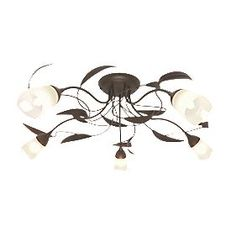 Sherwood Chocolate Brown & Frosted Glass 5 Light Ceiling Light