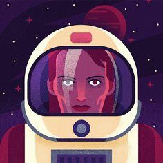 Space Oddity #RIPBowie #davidbowie #illustration #portrait #vector #bestvector #designspiration #MUTI by studiomuti