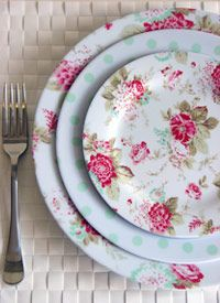 Pretty china dining wear. Love the floral pattern against the polka dots.