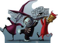 "Nightmare Before Christmas Lock Shock & Barrell Life-Size Cardboard Standee 40"" x 55"" $40"