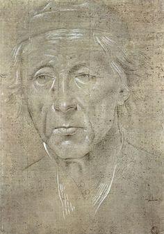 ** Lorenzo di Credi (1456-1537), Cabeza de anciano cubierto con gorra. Museo del Louvre, parís. Punta de Plata y Blanco de plomo sobre papel preparado gris y en rosa. -2
