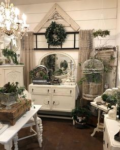 Image may contain: plant and indoor Decor, Painted Cottage, Store Decor, Farmhouse Chic, Shabby Chic Decor, Shabby Chic Farmhouse, Dream Decor, Vintage Decor, Shabby Chic Furniture