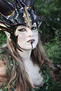 Wald Dragon Queen Krone Larp Leder grün Gold von FeralCrafter