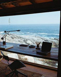 ღღ What a spot for a desk area! The view is spectacular. ~~~ Photographer: Fernando Bengoechea Location: Valparaíso Region, Chile