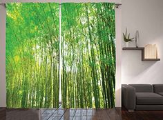 Ambesonne Bamboo Trees Decotaions Collection Natural Bamboo Forest Botanical Garden Photo Print Window Treatments Living Kids Girls Room Curtain 2 Panels Set 108 X 90 Inches Green Yellow Olive