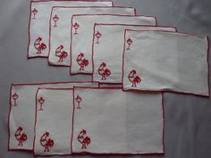Cocktail Napkins with an Embroidered Red by Allyssecondattic, $15.00