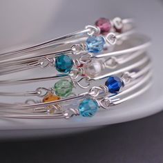 Birthstone Bracelet Sterling Silver Bangle by georgiedesigns