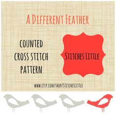 Retro Modern Cross Stitch Pattern - A Different Feather - PDF - Instant Download on Etsy, $3.00
