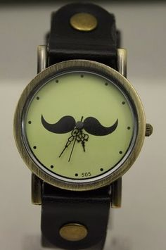 Classic Old Time Steampunk Mustache Watch