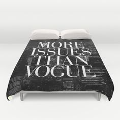 More+Issues+Than+Vogue+Black+and+White+NYC+Manhattan+Skyline+Duvet+Cover+by+RexLambo+-+$99.00