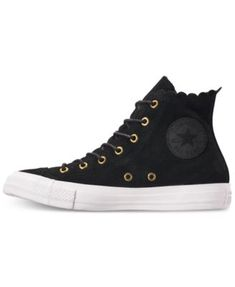 ec017919fc1f Converse Women s Chuck Taylor All Star High Top Frilly Thrills Casual  Sneakers from Finish Line - Black