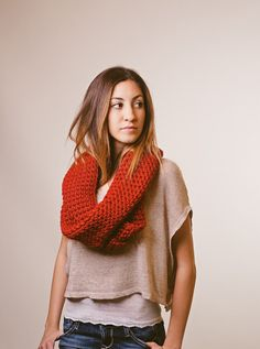 Red infinity scarf, chunky infinity scarf, fall, winter, spring, circle scarf, loop scarf, christmas, fashion