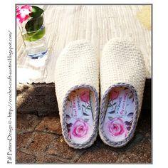 Crochet-Knit White Slipper Clogs Pattern by Ingunn Santini