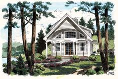 #Coastal #HousePlan 24740 | The side covered porch of this home encourages the occupants to enjoy the outdoors. The covered porch and great room both receive an abundance of natural light from overhead skylights. In the great room, a soaring vaulted ceiling enhances the home's sense of airiness. A loft overlooks the great room, and opts as a terrific computer/study area.