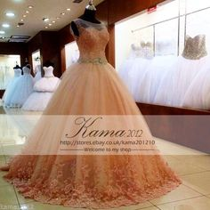 Coral Ball Gown Quinceanera Dresses Tulle Sweet 16 Prom Pageant Masquerade Gown