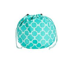 """Aqua Tote - Aqua Chain 12""""Diameter x 12""""H Keep your wets separate! Water resistant coated interior. Great for swimwear, pool toys and workout clothes. Drawstring closure. Front zipper pocket and mesh interior pocket."""