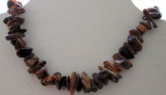Tiger eye necklace with large pieces of real stones by mickyme2