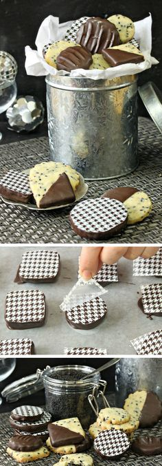 Black Sesame Shortbread Cookies - with a bit of orange flavor and a beautiful chocolate coating! | From SugarHero.com