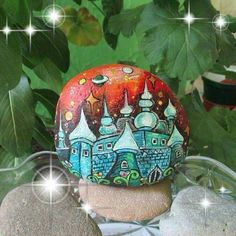 Futuristic castle painted rock